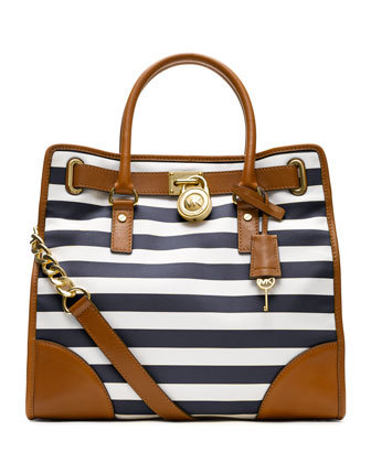 Michael Kors Hamilton Tote in Blue Stripe