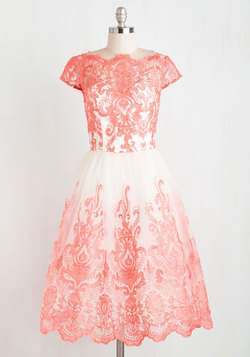 Exquisite Elegance Dress in Coral